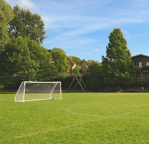 Football goal on the field