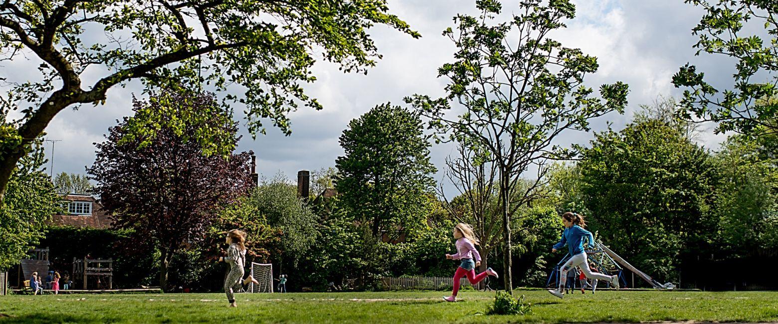 Children Running On Field