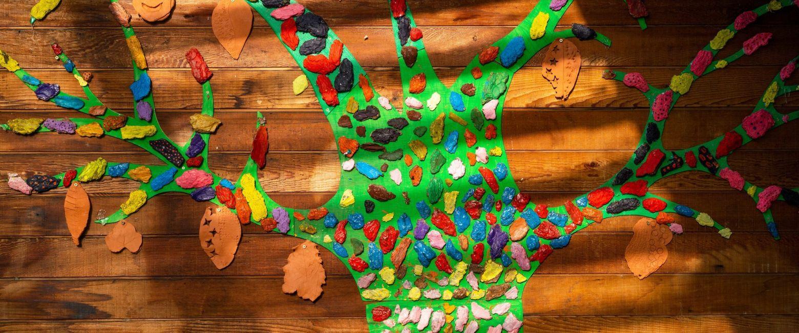 Tree artwork in Lower School