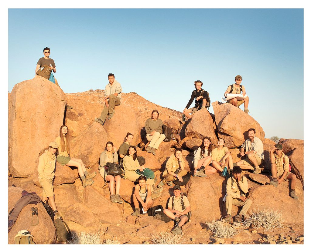 The Y12 students prepare for a trek in the Namibian desert