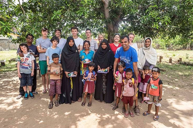 Group of students and locals in Sri Lanka