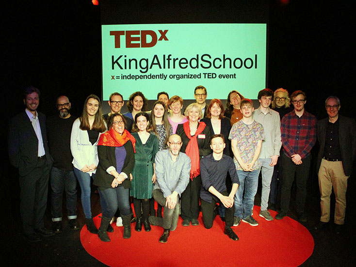 The TEDx speakers with organiser Kara Conti (centre) and Head, Robert Lobatto (on the right)