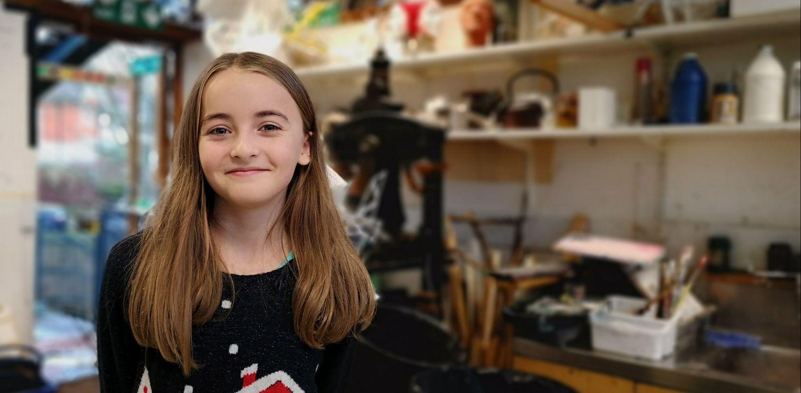 Upper school student in the art room