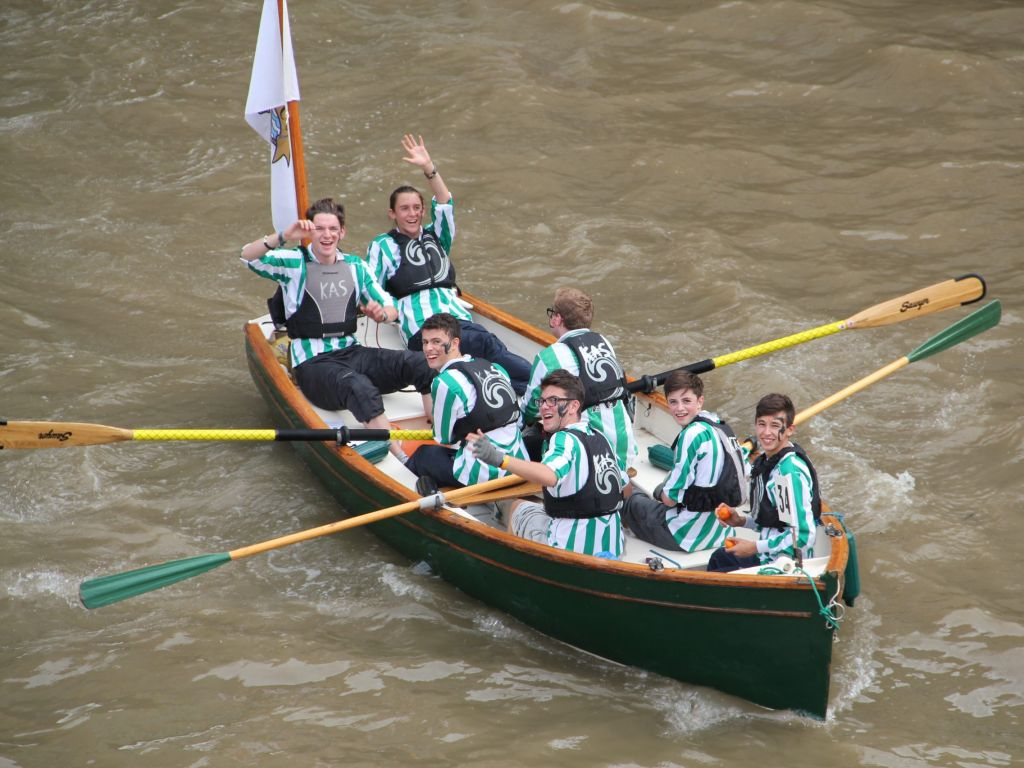 Students rowing in the Great River Race