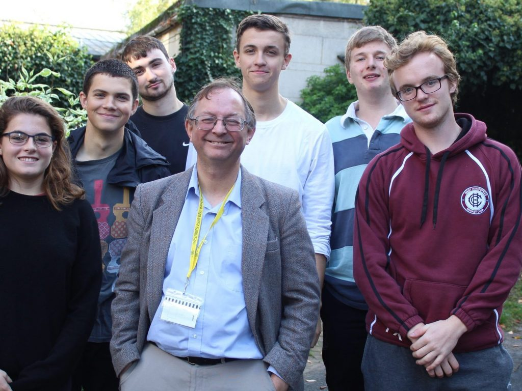 Students with visitor